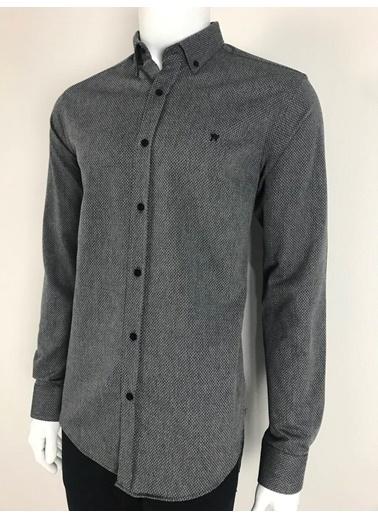 Abbate Baharlık Armürlü Slımfıt Casual Gömlek Siyah